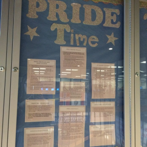 PRIDE time schedule can be found outside of Mrs. Schroeck's office, at the top of the main staircase.